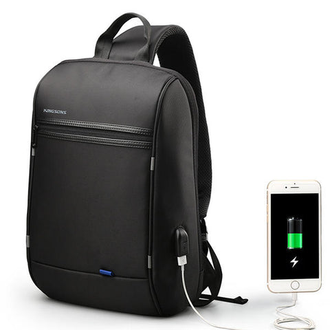 Men Waterproof Laptop Chest Bag Crossbody Bag Travel Business Bag with USB Charging Port - Black
