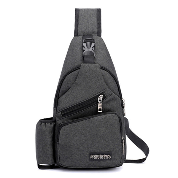 Men Oxford Large Capacity Casual Outdoor Travel USB Charging Port Sling Bag Chest Bag Crossbody Bag - Black