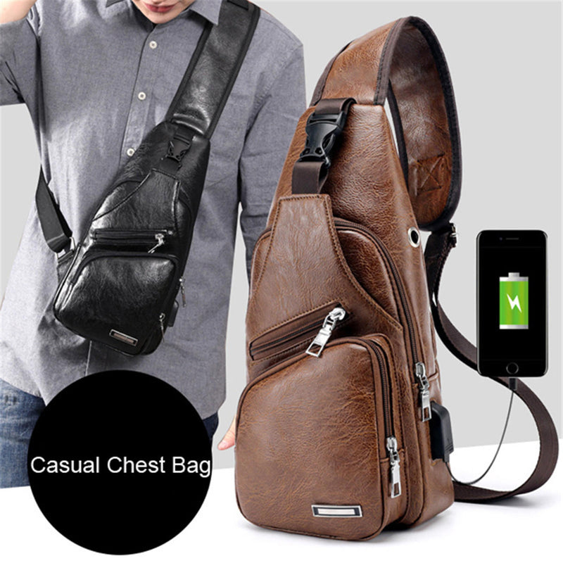 Men Outdoor Shoulder Chest Bag Travel Daypack with USB Charging Port - Large Dark Brown