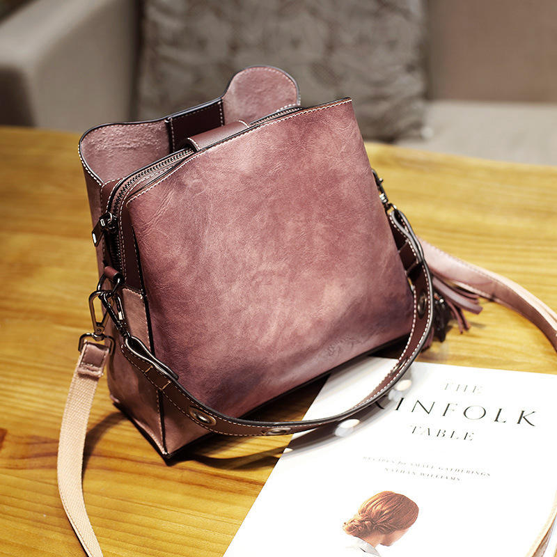 Women Vintage Faux Leather Crossbody Bag Shoulder Bags Bucket Bag Crossbody Bag