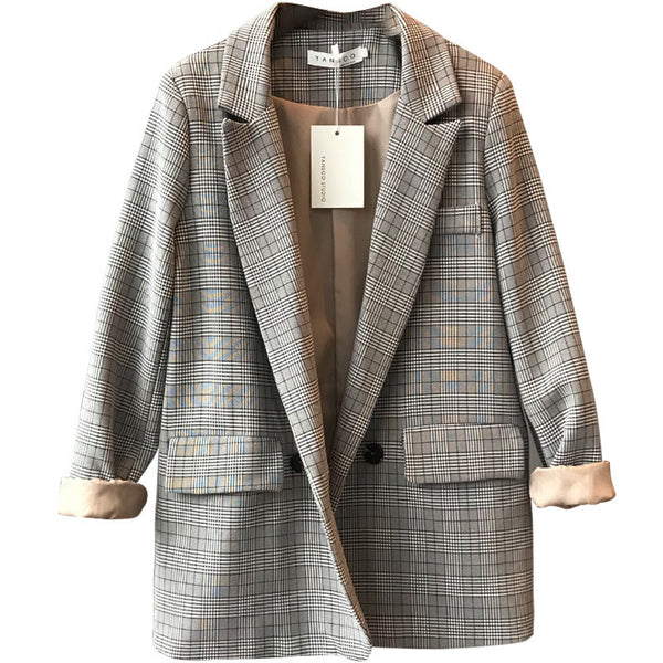 Fashion Single Breasted Plaid Blazer Female Long Sleeve Office Ladies Blazer 2019 Spring Autumn Jacket Women Outerwear Coats