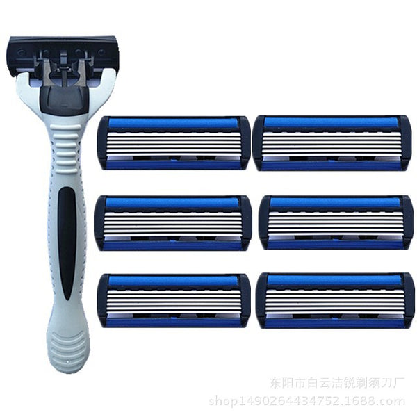 Full set 6 layer sharp shaving men electric shaver razors blades replace head razor blade for gillettee machine handle
