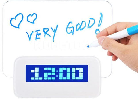 Blue LED Digital Alarm Clock with Message Board USB