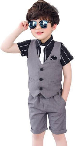 Boys Dress Suits For Wedding Party, Shirt With Tie, Jacket and Pants, Aged 7-8 years old, Grey