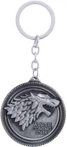 Zinc Alloy Metal Game of Thrones Stark Keychain - Silver
