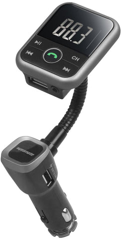 Promate CarMate-6 Bluetooth FM Transmitter Stereo Car Kit with Hands-Free, Car Charger and AUX Input