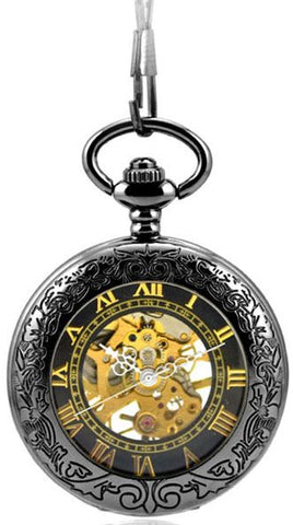 Pocket Watch Pendant Roman Number Antiqued Silver Black