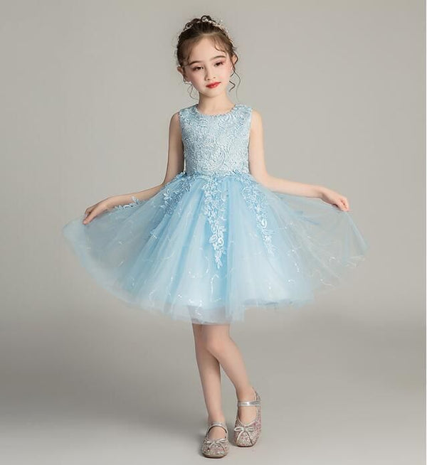 Girl Dress Sky Blue Party Princess Dress For Girls, 7-8 years old