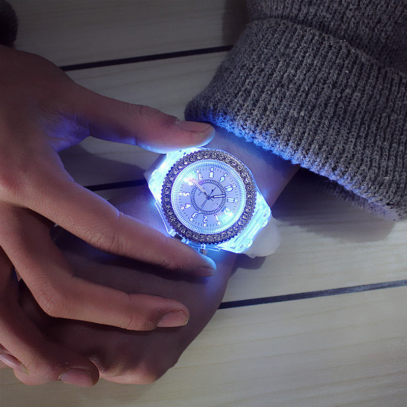 led Flash Luminous Watch Personality trends woman men's watches 7 color light WristWatch