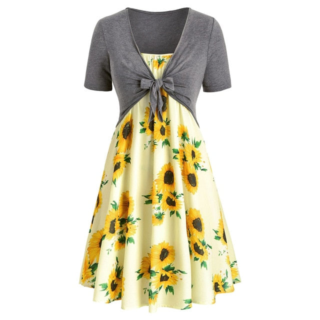 Fashion Women dresses Short Sleeve Bow Knot Bandage Top Sunflower Print Mini Beach Party Enening Dress Suits