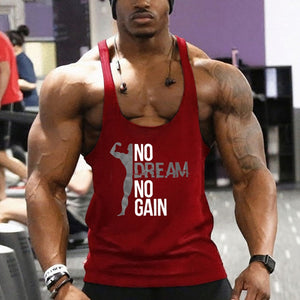 (Buy 1 Get 1 FREE) AudWhale Fitness Top For Men No Dream No Gain Letter Printed Cotton Tough Guy Bodybuilding Gym Tank Top