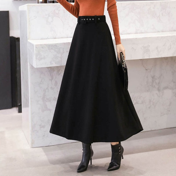 2019 Fashion Winter Women's Wool Skirts With Belt Solid Color Vintage Woolen Skirt Female Streetwear Casual Long 4 Color