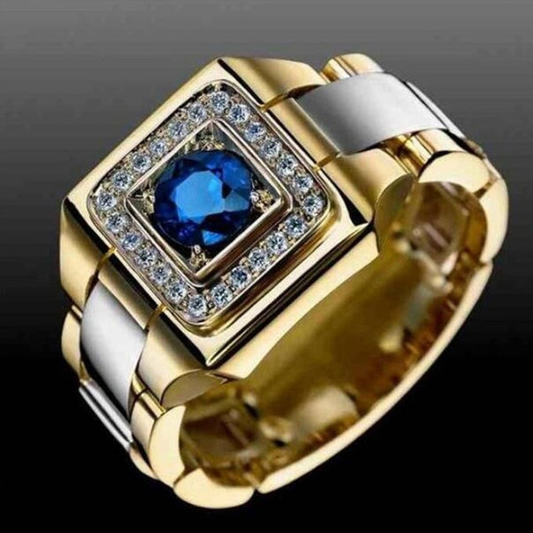 Huitan Party Men Rings Creative Watch Shaped Two Tone Design Wholesale Blue Stone Setting Rings With Size 6-10 Male Jewelry