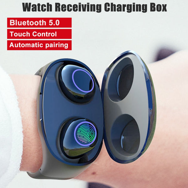 Bluetooh 5.0 headset with Watch band charging Bluetooth Earphones Binaural Calling Wireless Earbuds Stereo Headset for phone
