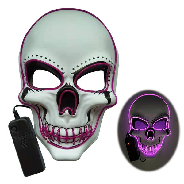 Halloween Skeleton Mask LED Glow Scary EL-Wire Mask Light Up  Festival Cosplay Costume Supplies Party Mask mardi gras