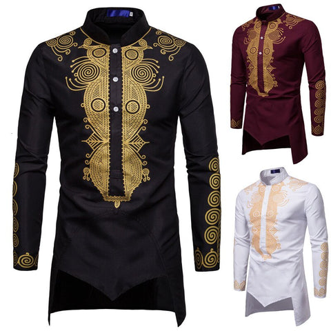 New Men Shirt Long Sleeve Gold foil Printed Formal Shirt Middle East Style Casual Shirt