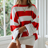 Women's Winter Sweater Stripe Pullover O-Neck Curling Loose Sweaters Women Pull Femme Nouveaute 2020 Spring Womens Jumpers Top