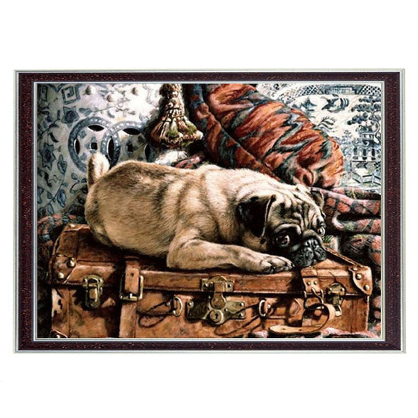 Needlework Crafts 14CT unprinted embroidery French DMC Quality Counted Cross Stitch Kit/Set DIY Oil painting Pug on Suitcase art