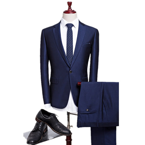 2019 new autumn wedding navy blue suits men,blazer men,men's navy blue business suits,men's Dress suits, size M-4XL