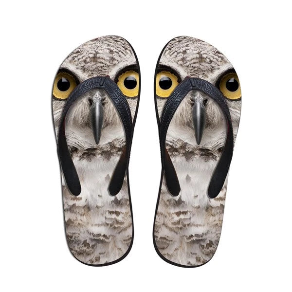 FORUDESIGNS Summer Men's Slippers Beach Flip Flops Fashion 3D Zoo Animals Wolf Owl Printed Sandals Male Soft Rubber Flip-Flops