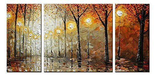 Cityscape Oil Painting Wall Art-Modern Canvas Art Wall Decor 100% handpainted night landscape house 3 piece pictures artwork