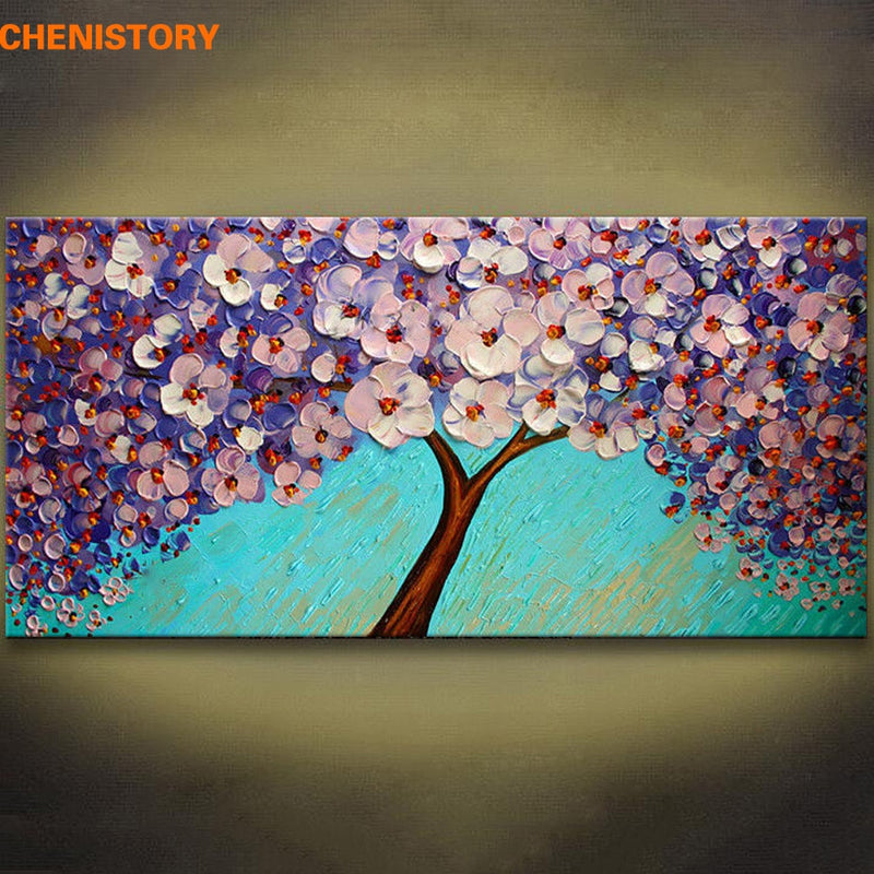 No Frame Purple Flower Tree Hand Painted Palette Knife Painting Home Decoration Modern Wall Art Oil Painting For Living Room
