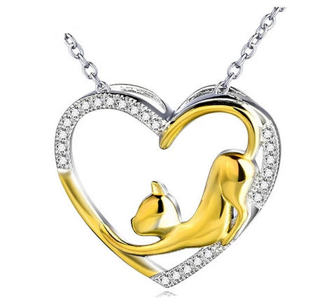 Vinnie Design Jewelry 925 Sterling Silver Crystal Heart Pendant Necklace with Gold Color Cat Luxurious Jewelry Necklaces Collier