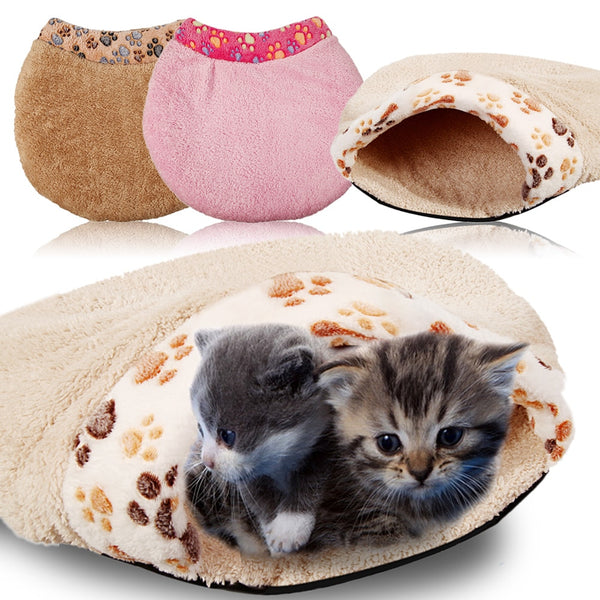 Soft Coral Plush Warm Cat Dog Bed Cat Tunnel Toy Pet Sleeping Bag Dog Kennel S L Size Pet Beds 3 Colors