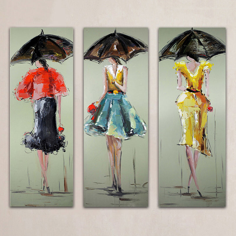 Unframed 3 Panels Sexy Women Hand Painted Oil Painting Modern Wall Picture Palette Knife Painting For Home Decoration Artwork