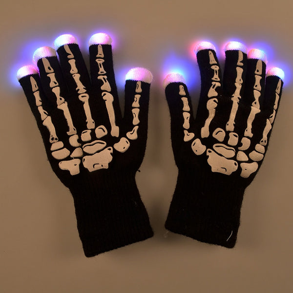 1 Pair Hand Bone LED Glow Gloves Light Flashing Finger Lighting Mittens Magic Black Gloves Halloween Decoration Party Supplies