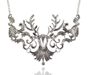 Christmas Gift Fashion Vintage Antique Elk Deer Long Maxi Necklaces & Pendants Statement Jewelry Women Necklace Collier femme