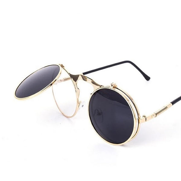 RunBird Retro Steampunk Round Sunglasses Women Brand Designer Vintage Metal Steam Punk Sun Glass Men Oculos De Sol Feminino R009
