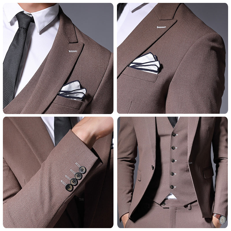 Sale Brand Mens Suit Jacket Formal Business Blazer Men Groom Three Pieces Slim Fit Party Clothing Single Button Wedding Dress
