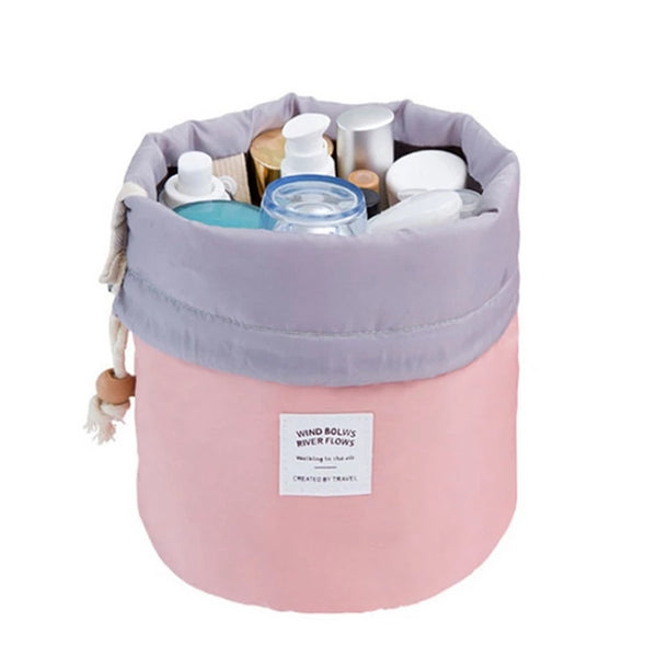 Fashion Barrel Shaped Travel Cosmetic Bag Make Up Bag Drawstring Elegant Drum Wash Kit Bags Makeup Organizer Storage Beauty Bag