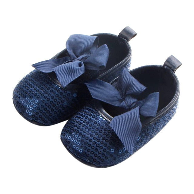 Newborn Baby Shoes Butterfly-knot Shoes Moccasins Sequin Anti-slip First Walkers Prewalker Toddler Girl Princess Party Shose