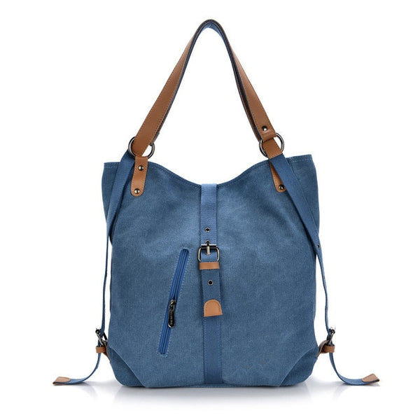 Chu JJ Vintage Multifunctional Women's Backpacks Girls Students School Bag Canvas Shoulder Bags Women Casual Travel Bag