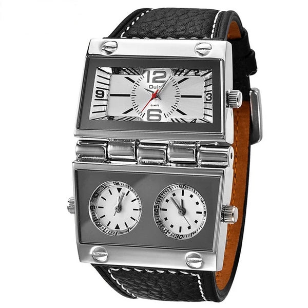 Oulm 2 Different Square Dials Watch 3 Time Zone Men's Wrist Watches Big Size Male Quartz Clock Unique Leather Man Watch New