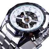 2019 Silver Stainless Steel Waterproof Mens Skeleton Watches Top Brand Luxury Transparent Mechanical Male Wrist Watch