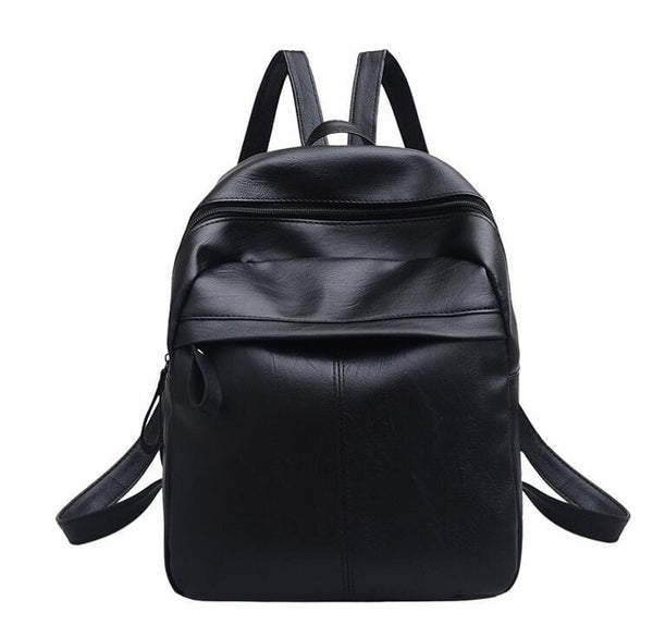 High Quality PU Leather Women Backpack Fashion Solid School Bags For Teenager Girls Large Capacity Casual Women Black Backpack L