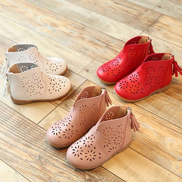 Girl Boots Fashionable Sweet Princess Single Boots Sandals 2017 Spring/Summer New Children's Shoes Hollow Flowers Breathable