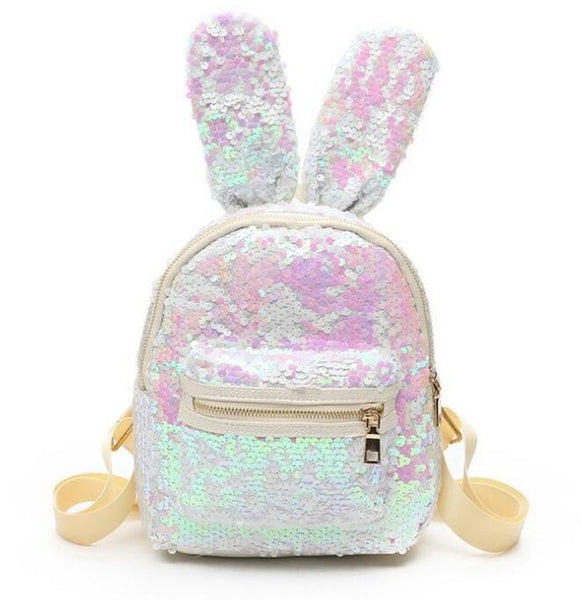 Mini Sequins Backpack Cute Rabbit Ears Shoulder Bag For Women Girls Travel Bag Bling Shiny Backpack Mochila Feminina LB669