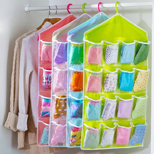 16 Grid Wardrobe Hanging Organizer Underwear Bras Socks Ties Door Storage Bag Shoe Rack Storage Bag Saving Space Tidy Organizer