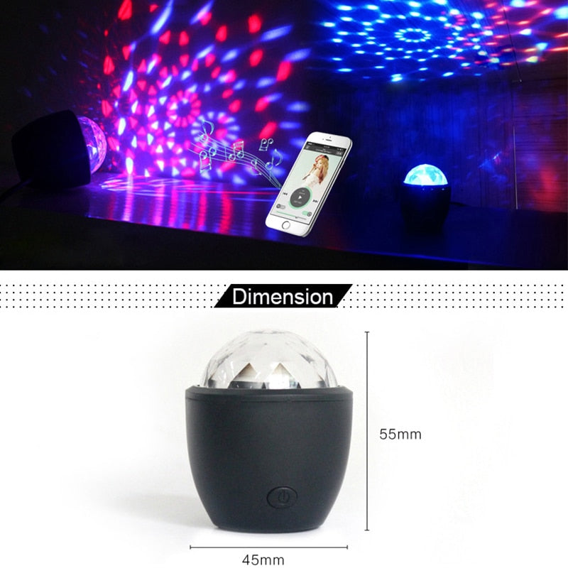 Tanbaby Mini stage light 3W USB powered Sound actived Multicolor Disco ball magic effect lamp for birthday,Party,Concert etc.