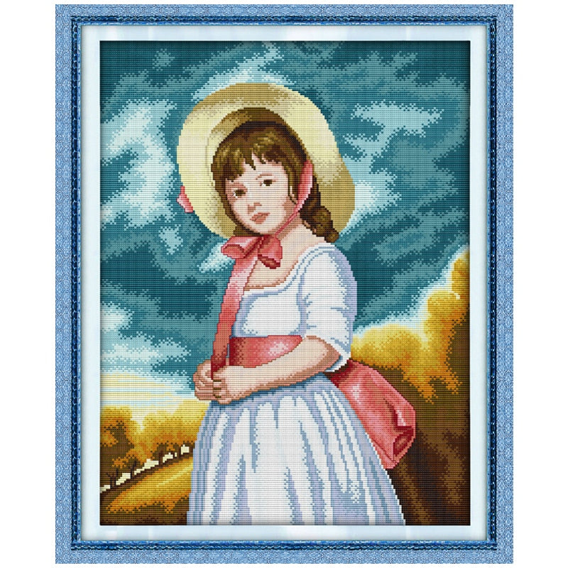 Oil Painting Girl Counted Cross Stitch 11CT 14CT Handmade Cross Stitch Sets wholesale Cross-stitch Kits Embroidery Needlework
