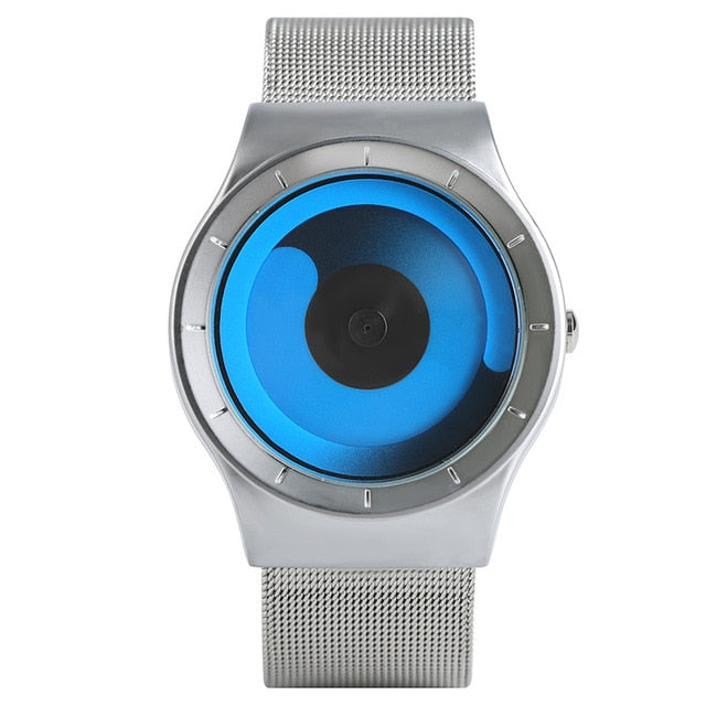 Creative Unique Gradual Turntable Swirl Watches Stainless Steel Strap Mesh Quartz Sport Watch Men Blue Ocean Style Unisex Gifts