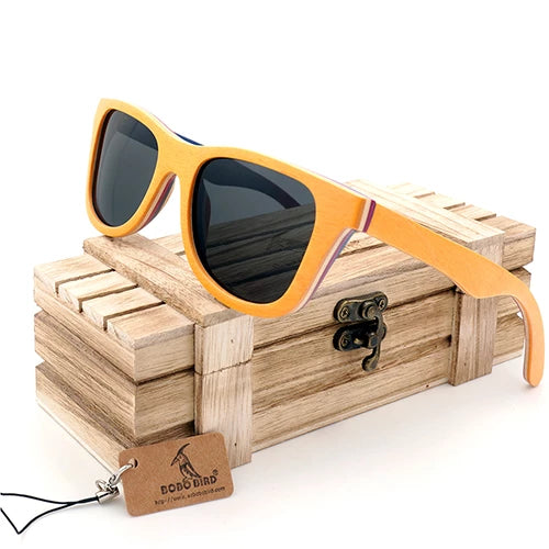 Polarized Sunglasses Women Men Layered Skateboard Wooden Frame Square Style Glasses for Ladies Eyewear In Wood Box