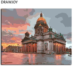 DRAWJOY Framed Landscape Painting & Calligraphy DIY Painting By Numbers Acrylic Canvas Paintings Home Decor GX7966 40*50cm