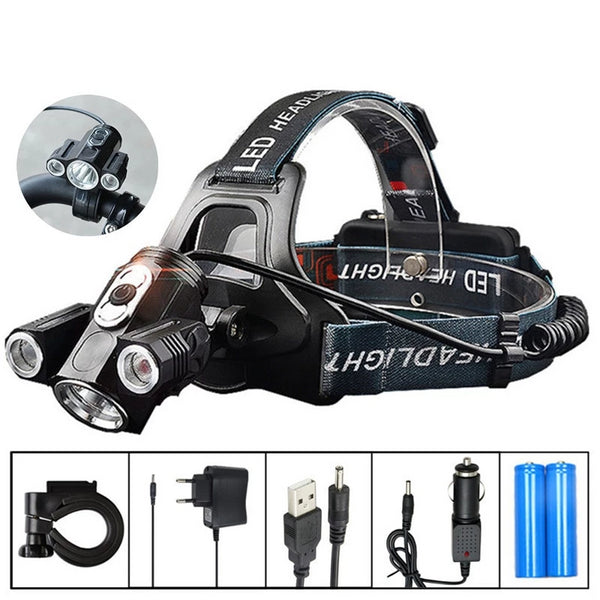 ZPAA LED Headlamp LED Head Torch Flashlight 13000 Lumens LED Head Lamp 180° Rotating dual Bike Light Headlight