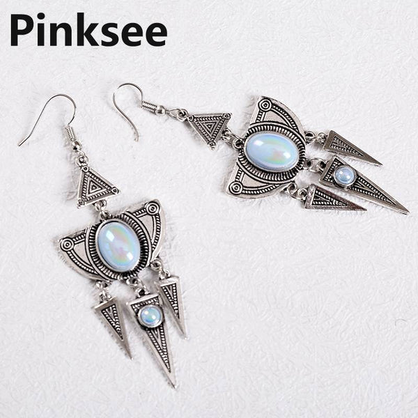 Antique Silver Color Triangle Egyptian Drop Earrings Geometric Morocco Dangle Earrings for Women Long Tassel Earrings bijoux
