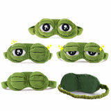Funny Creative Pepe the Frog Sad Frog 3D Eye Mask Cover Cartoon Plush Sleeping Mask Cute Anime Gift